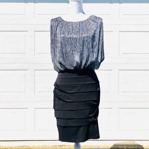 Shimmery silver and black dress